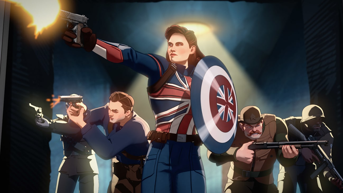 Captain Carter (center) and the Howling Commandos in Marvel Studios' WHAT IF…? exclusively on Disney+. ©Marvel Studios 2021. All Rights Reserved.