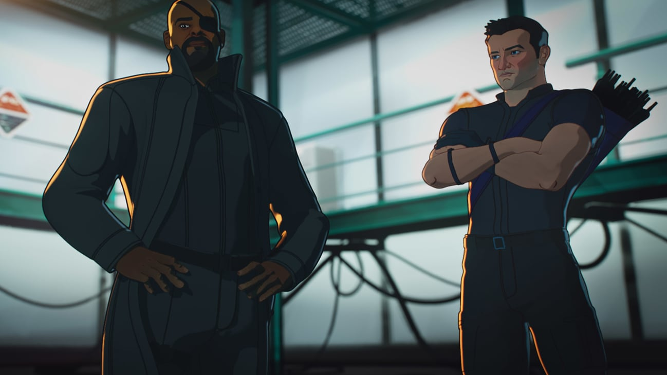 (L-R): Nick Fury and Hawkeye in Marvel Studios' WHAT IF…? exclusively on Disney+. ©Marvel Studios 2021. All Rights Reserved.