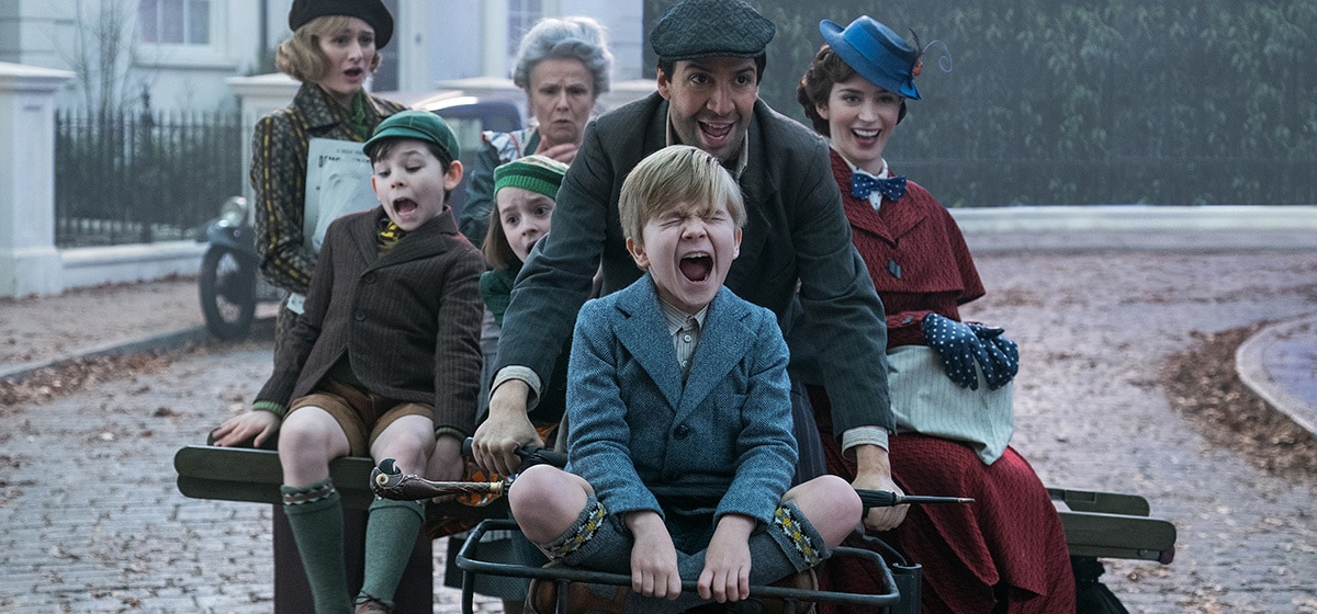 "Lin-Manuel Miranda, Emily Mortimer, Julie Walters, Emily Blunt, Pixie Davies, Nathanael Saleh, and Joel Dawson in ""Mary Poppins Returns"""