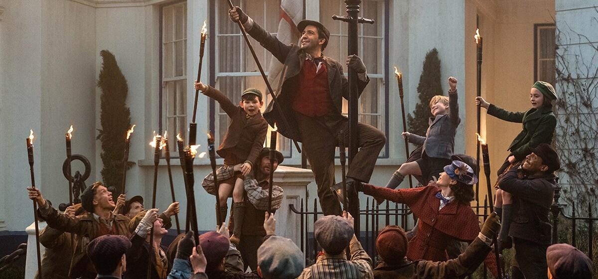 "Lin-Manuel Miranda, Ben Whishaw, Emily Blunt, Pixie Davies, Nathanael Saleh, and Joel Dawson in ""Mary Poppins Returns"""