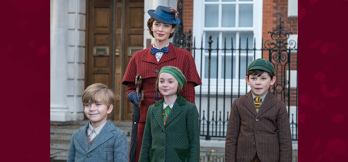 """Mary Poppins and the Banks children standing outside their home in """"Mary Poppins Returns"""""""