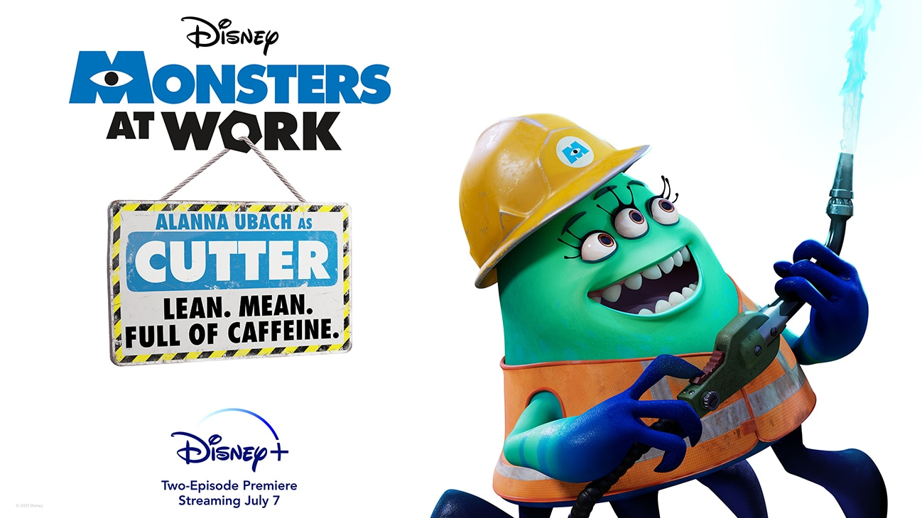 Alanna Ubach as Cutter from the Disney+ Original series Monsters at Work | Lean. Mean. Full of caffeine. | Disney+ | Two-Episode Premiere Streaming July 7 | poster