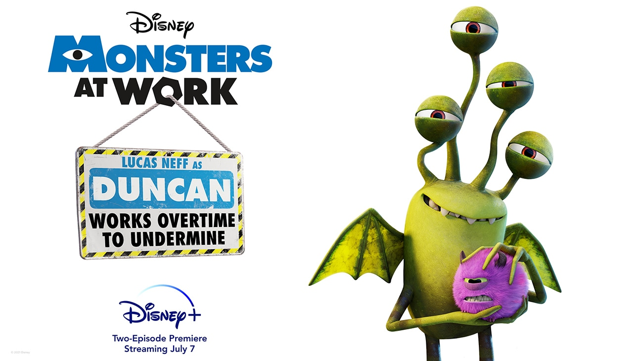Lucas Neff as Duncan from the Disney+ Original series Monsters at Work | Works overtime to undermine | Disney+ | Two-Episode Premiere Streaming July 7 | poster