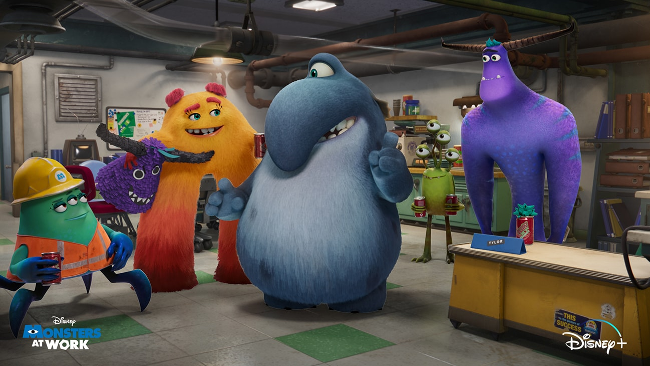 Fritz (voice of Henry Winkler), Cutter (voice of Alanna Ubach), Tylor (voice of Ben Feldman), Duncan (voice of Lucas Neff), and Val (voice of Mindy Kaling) from the Disney+ Originals series, Monsters At Work.