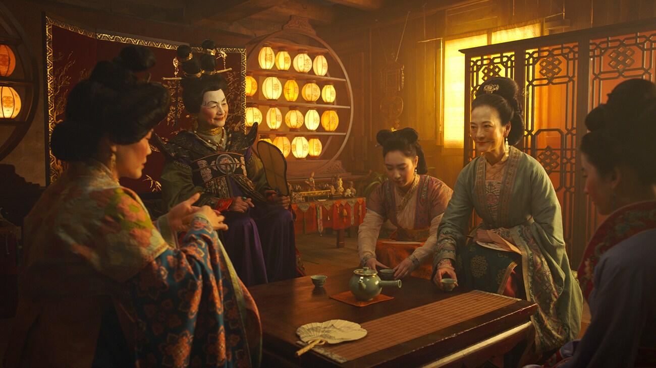 """Rosalind Chao (Li), Pei-Pei Cheng (Matchmaker), Yifei Liu (Mulan), Jo Lo (Fong Lin), and Xana Tang(Xiu) in """"Mulan"""""""
