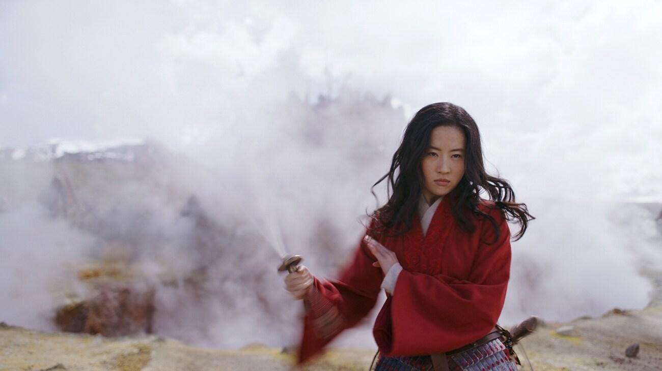 "Yifei Liu (Mulan) in battle in ""Mulan"""