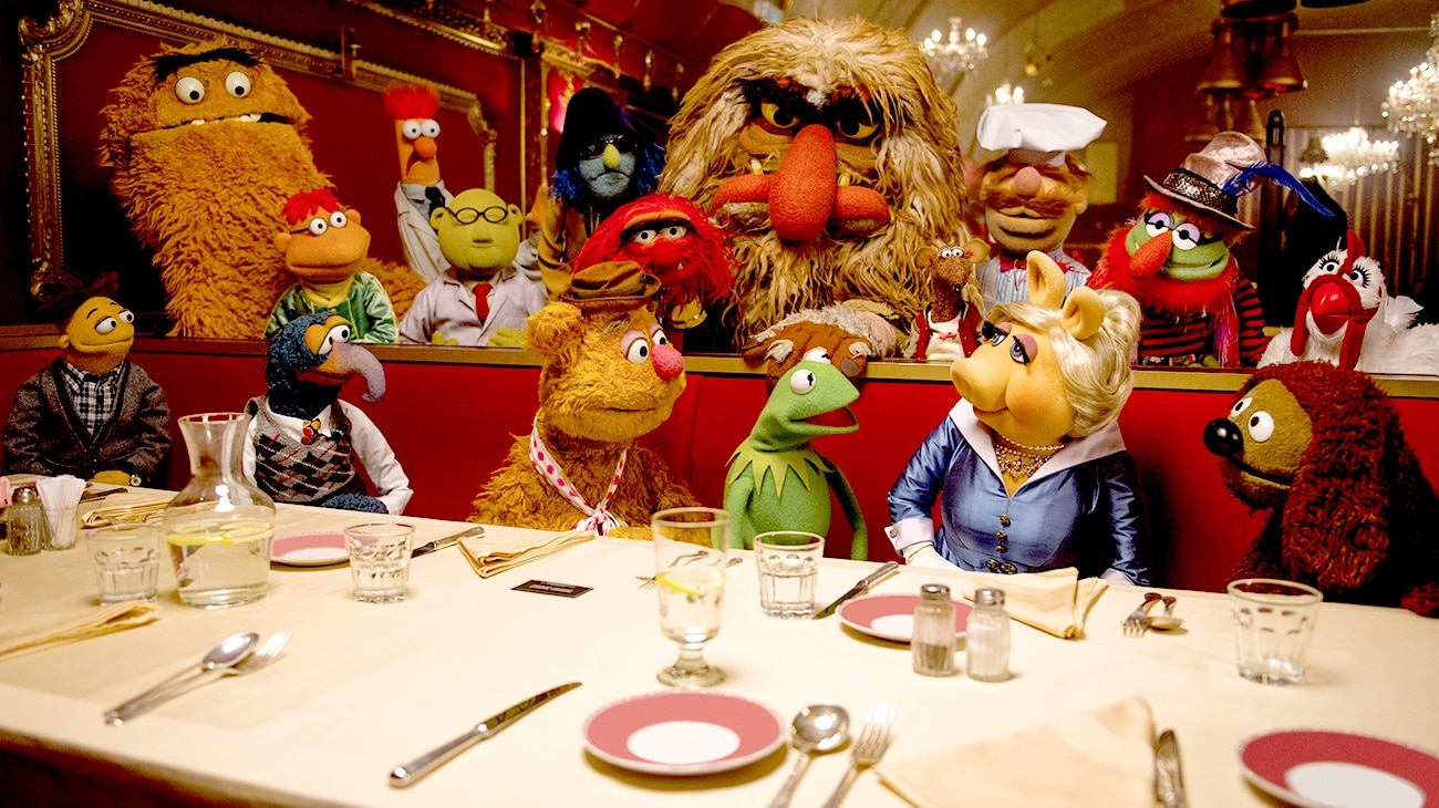 """Miss Piggy, Kermit, Fozzie Bear, Gonzo in """"Muppets Most Wanted"""""""