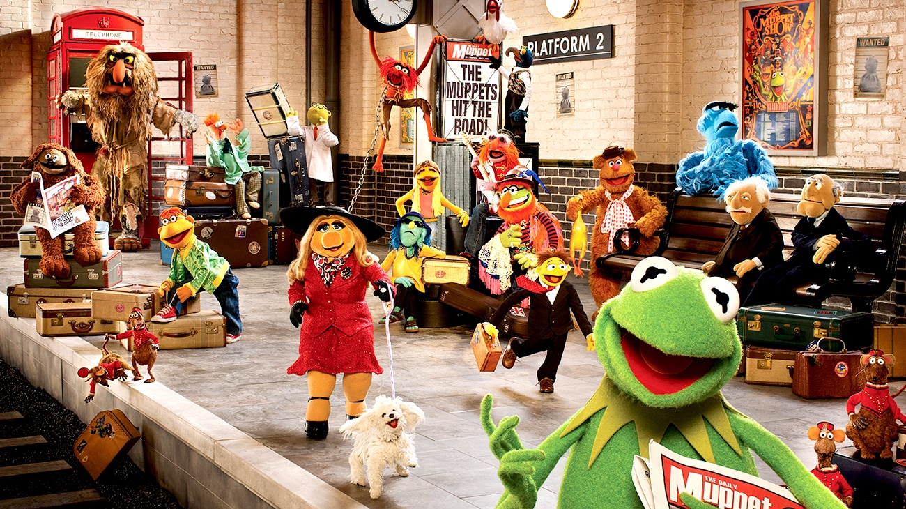 """Muppets at the train station in """"Muppets Most Wanted"""""""