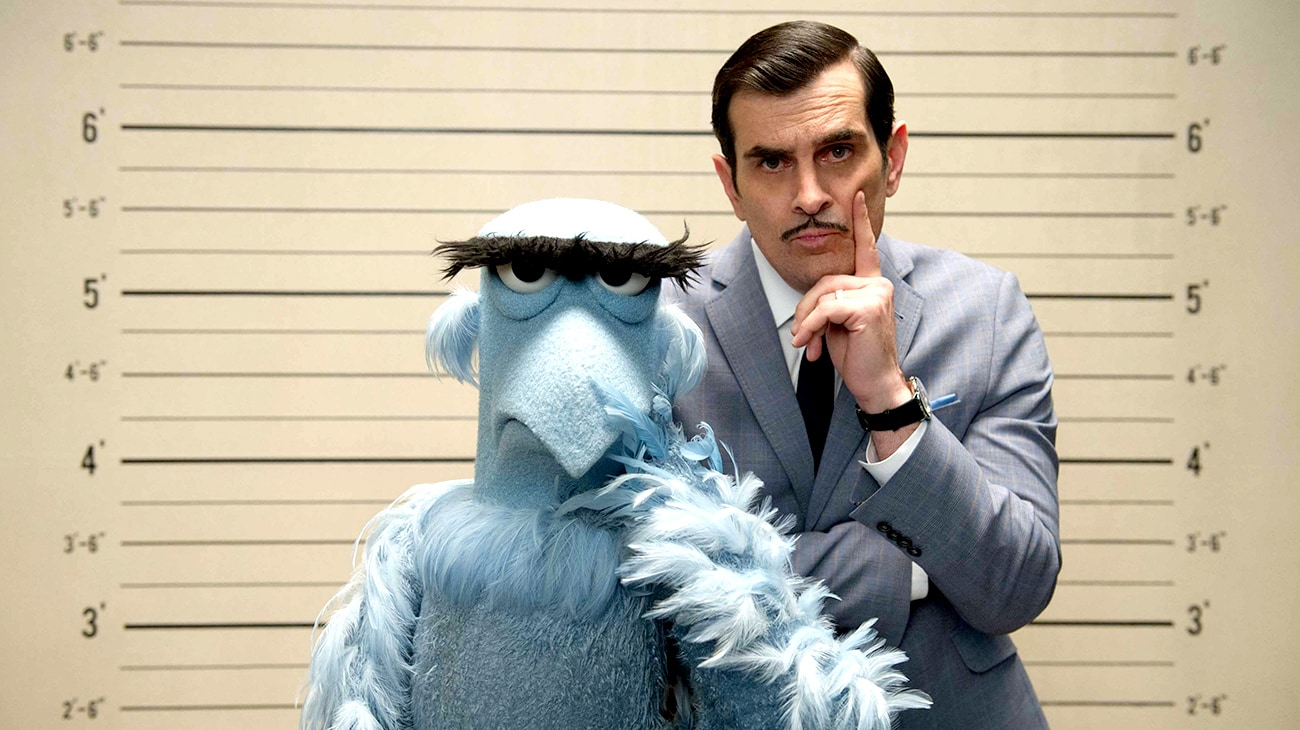"""Sam Eagle and Ty Burrell in """"Muppets Most Wanted"""""""