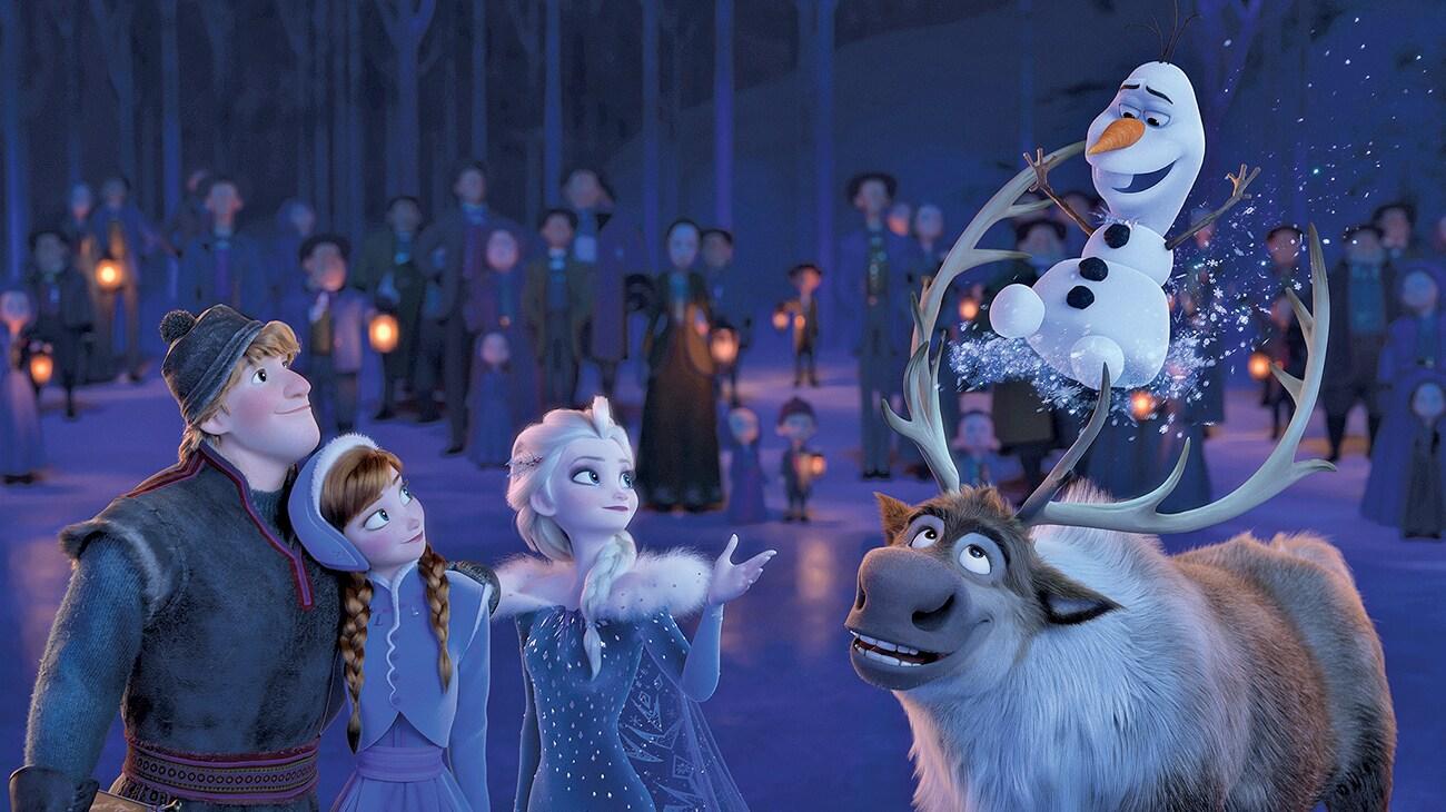 "Kristen Bell, Idina Menzel, Josh Gad, and Jonathan Groff in ""Olaf's Frozen Adventure"""