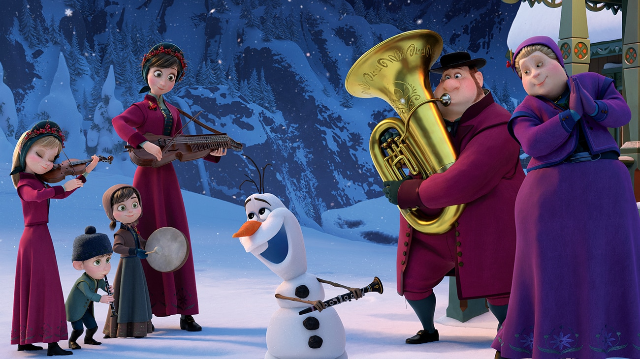 """Olaf with a group of musicians in """"Olaf's Frozen Adventure"""""""