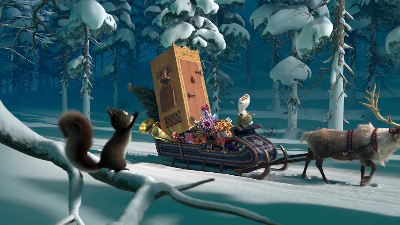 """Olaf and Kristoff on sleigh in """"Olaf's Frozen Adventure"""""""