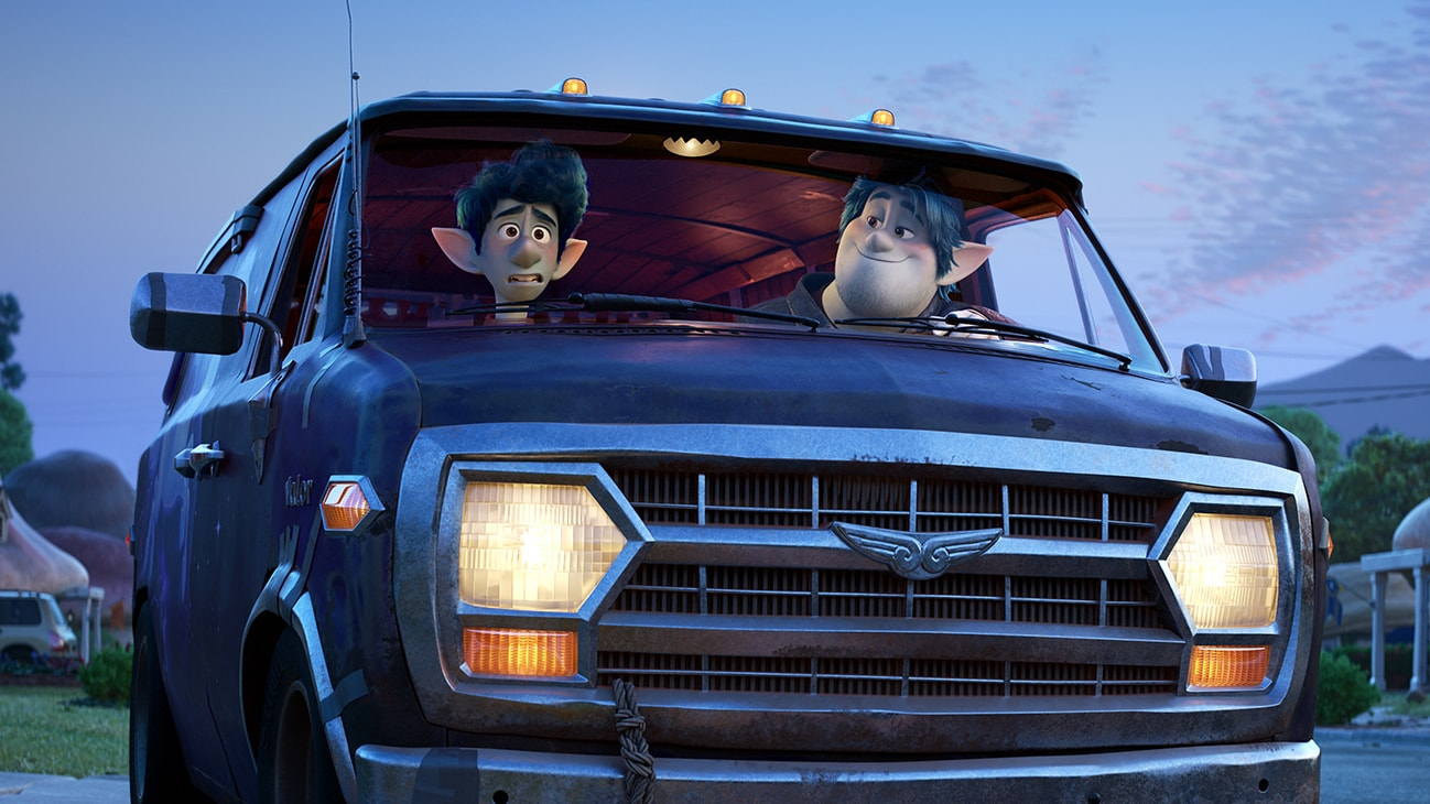 Elf brothers Ian (voice of Tom Holland) and Barley (voice of Chris Pratt) go on a quest in a van named Guinevere.