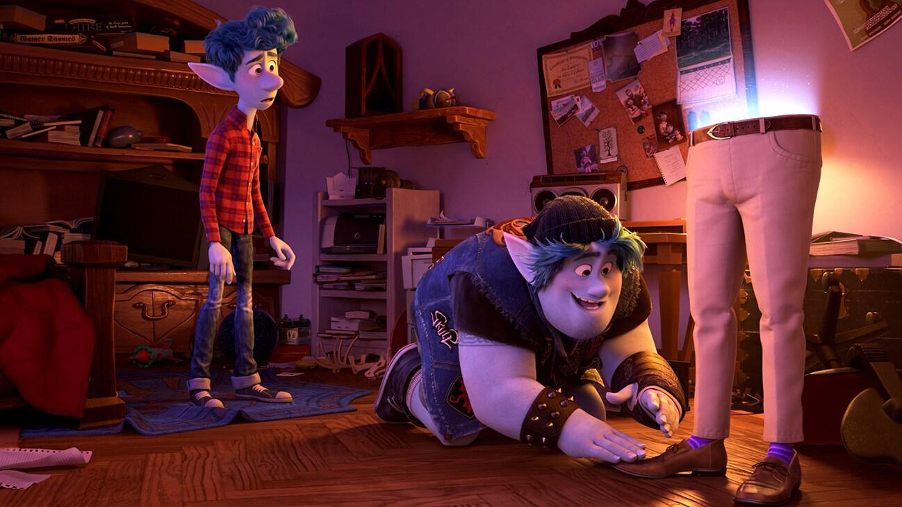 Elf brothers Ian (voice of Tom Holland) and Barley (voice of Chris Pratt) look at their dad's purple socks from the Disny•Pixar movie Onward.
