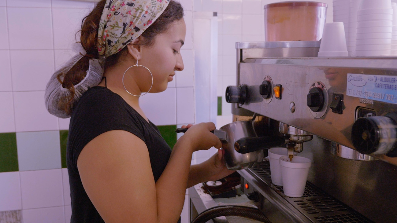 Bayamon, Puerto Rico - Alondra Toledo working at her family's bakery. (Credit: Future of Work Film Inc)