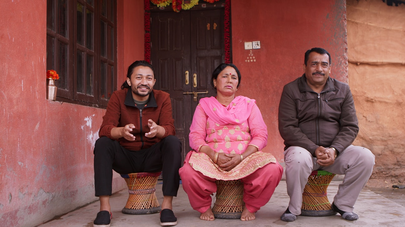Bhaktapur, Nepal - Santosh Pandey (L) with his parents Chandra Pandey and Gauri Pandey. (Credit: Future of Work Film Inc)