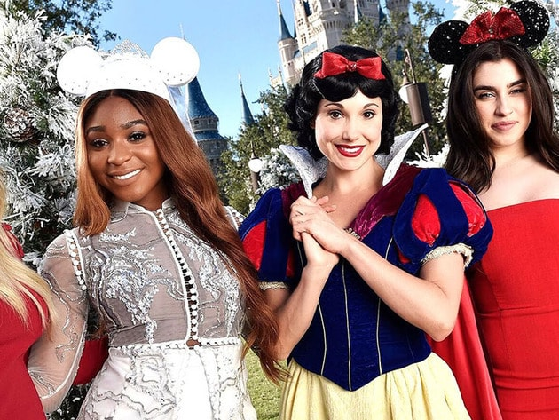 Special guest Fifth Harmony pose for a photo with Snow White