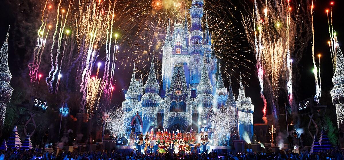 Fireworks light up the sky behind Cinderella Castle at the Magic Kingdom