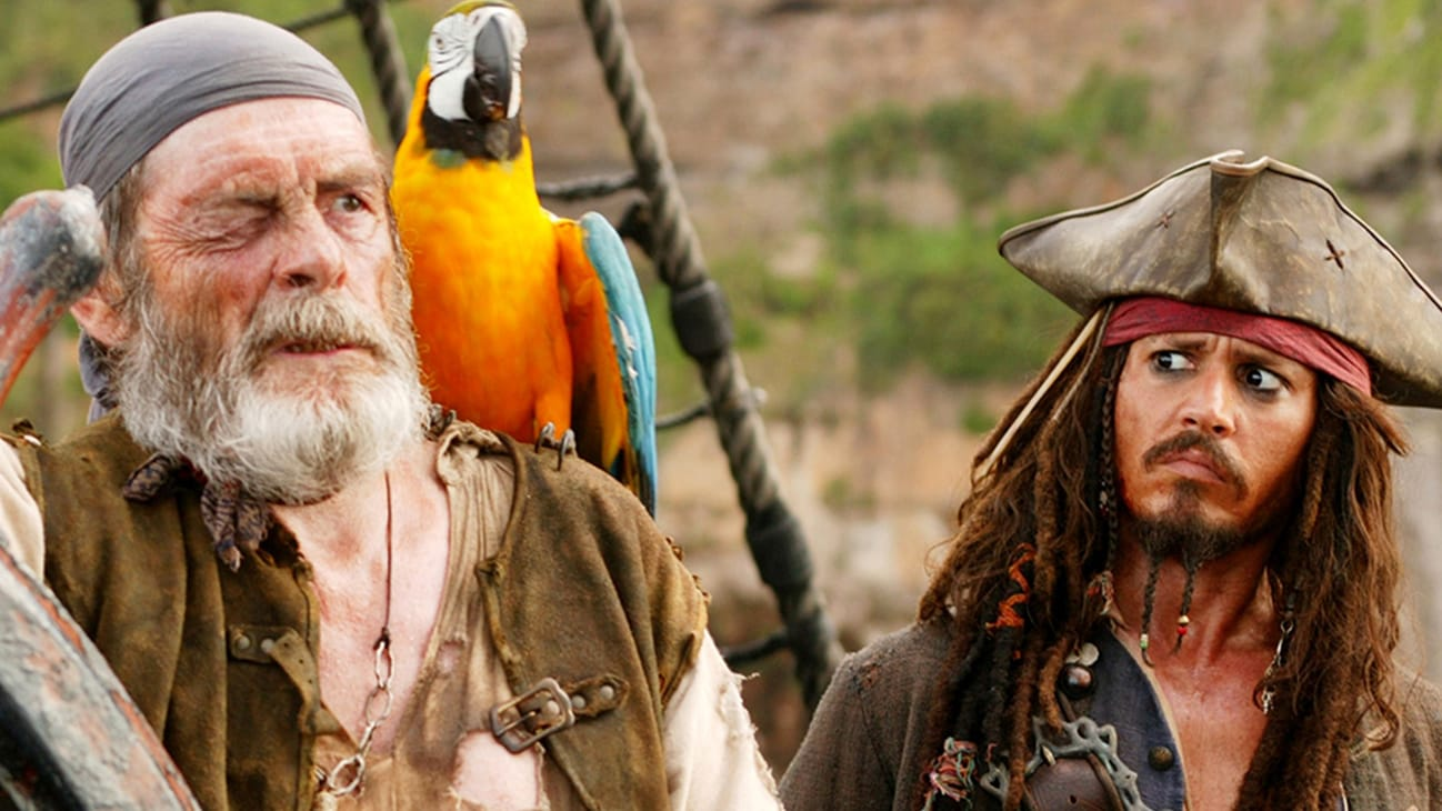 Jack Sparrow (Johnny Depp) and Cotton (David Bailie) in the Disney movie Pirates of the Caribbean: At World's End.
