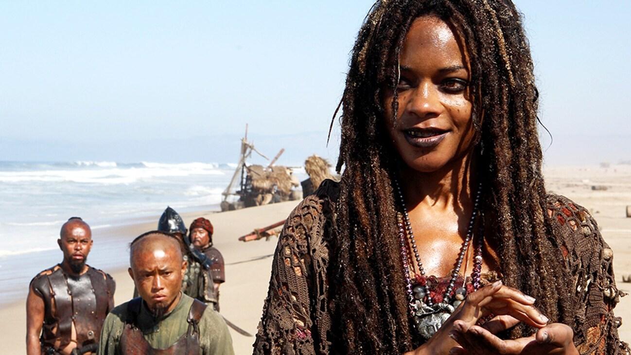 Tia Dalma (Naomie Harris) in the Disney movie Pirates of the Caribbean: At World's End.