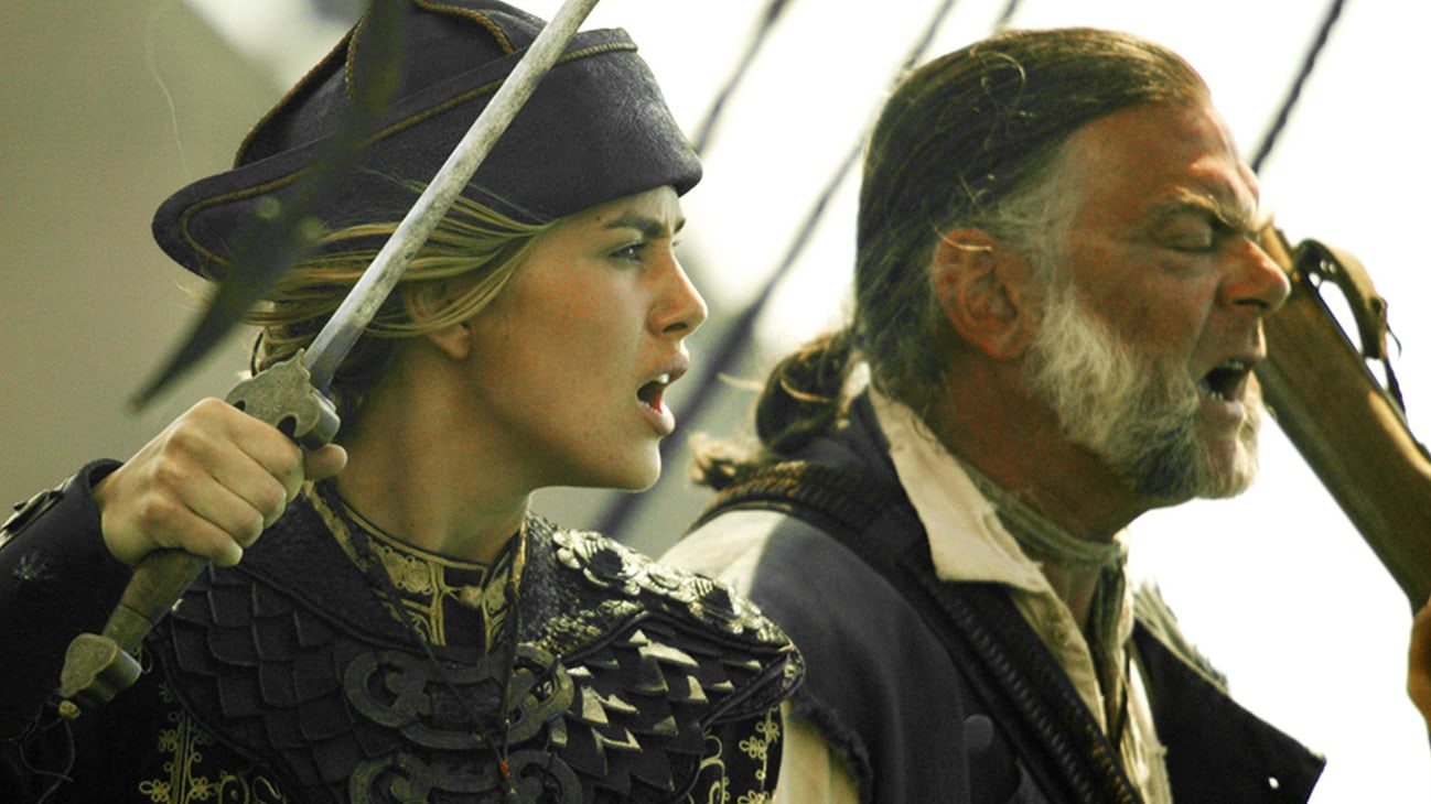 Keira Knightley (Elizabeth Swann) and Gibbs (Kevin McNally) in the Disney movie Pirates of the Caribbean: At World's End.