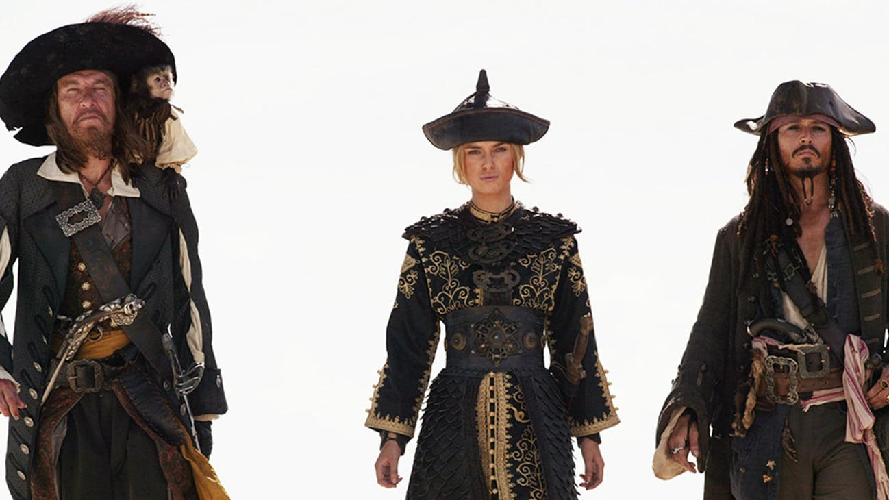 Jack Sparrow (Johnny Depp), Captain Hector Barbossa (Geoffrey Rush), and Elizabeth Swann (Keira Knightley) in the Disney movie Pirates of the Caribbean: At World's End.