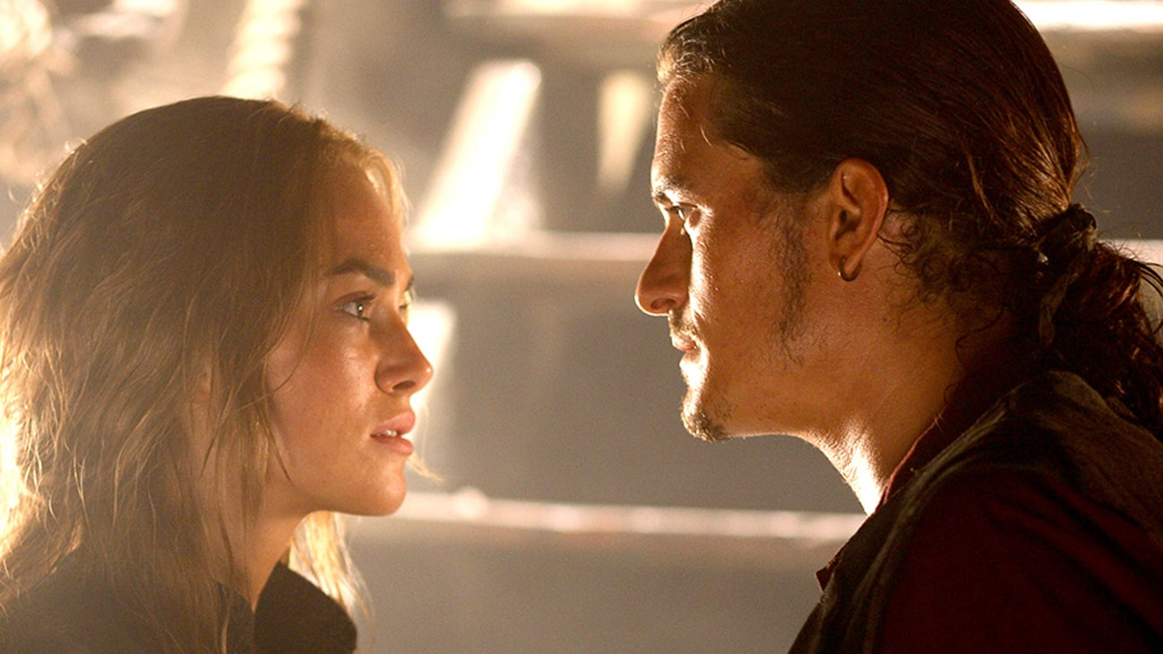 Keira Knightley (Elizabeth Swann) and Will Turner (Orlando Bloom) in the Disney movie Pirates of the Caribbean: At World's End.