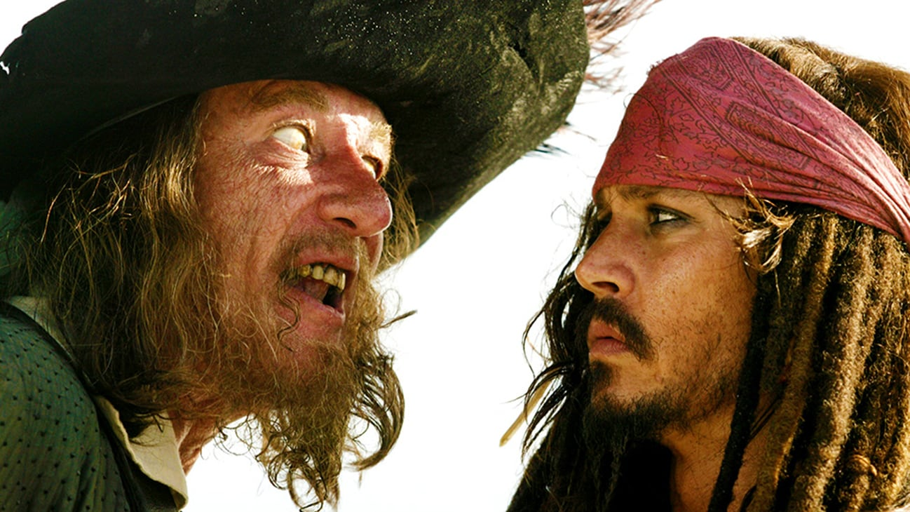 Captain Hector Barbossa (Geoffrey Rush) and Jack Sparrow (Johnny Depp) in the Disney movie Pirates of the Caribbean: At World's End.