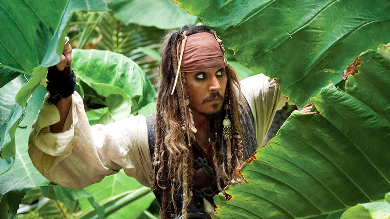 Jack Sparrow (Johnny Depp) in the Disney movie Pirates of the Caribbean: On Stranger Tides.