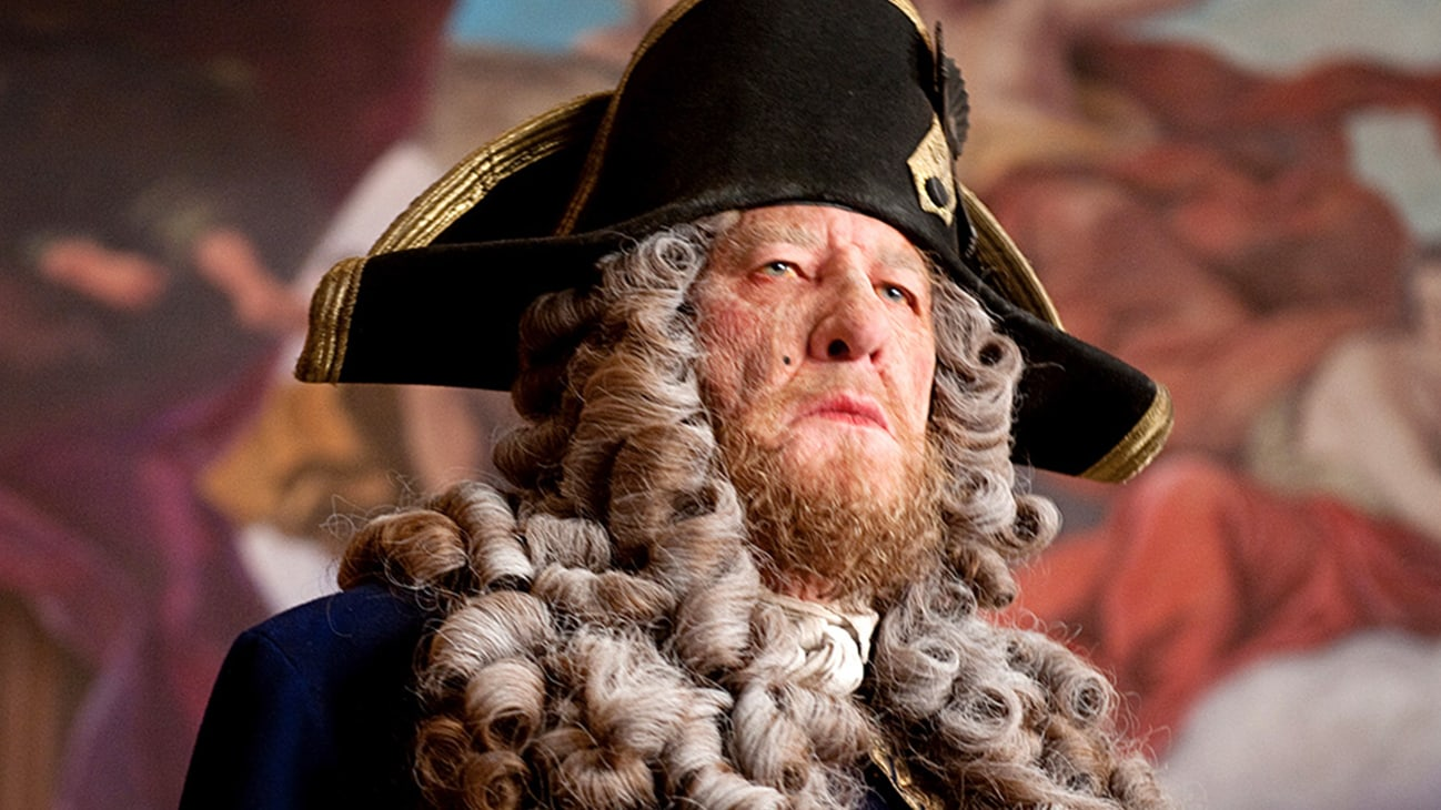 Barbossa (Geoffrey Rush) in the Disney movie Pirates of the Caribbean: On Stranger Tides.