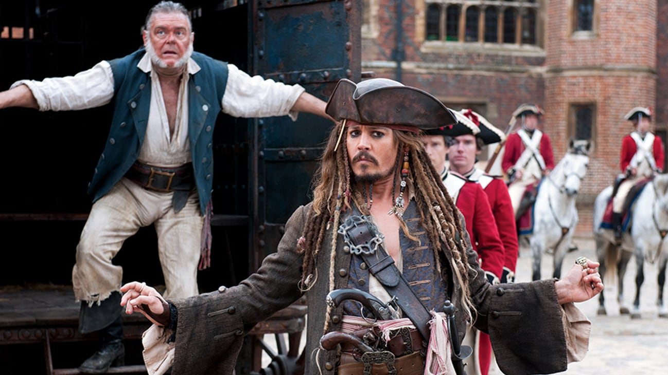 Jack Sparrow (Johnny Depp) and Gibbs (Kevin McNally) in the Disney movie Pirates of the Caribbean: On Stranger Tides.