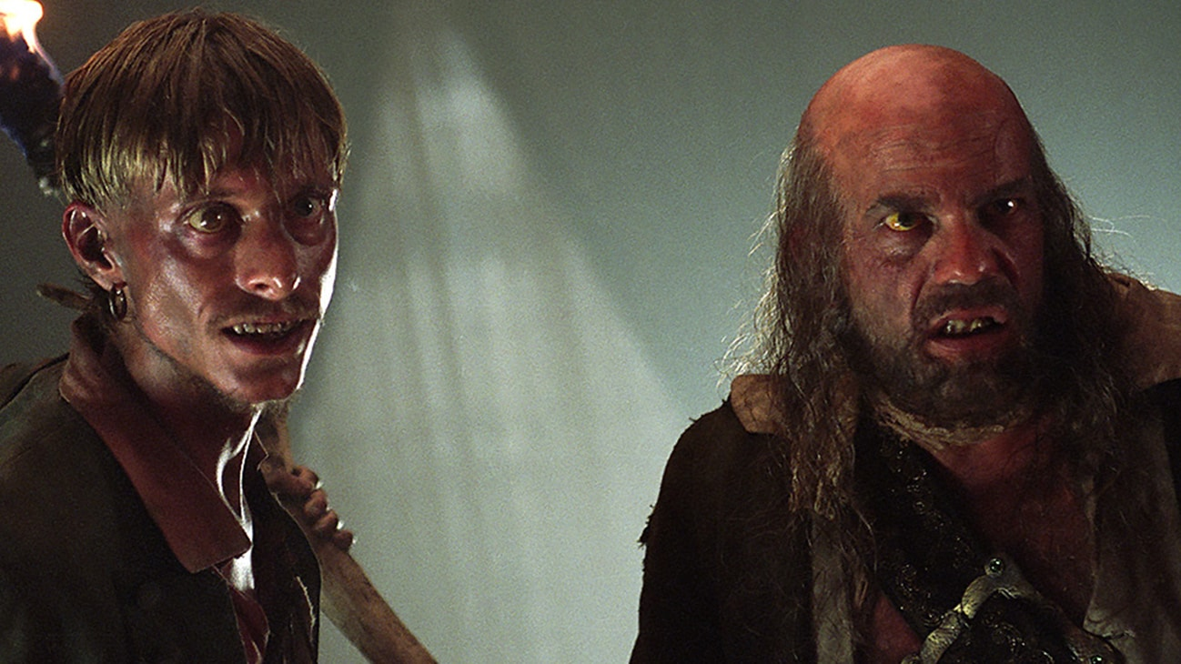 Pintel (Lee Arenberg) and Ragetti (Mackenzie Crook) in the Disney movie Pirates of the Caribbean: The Curse of the Black Pearl.