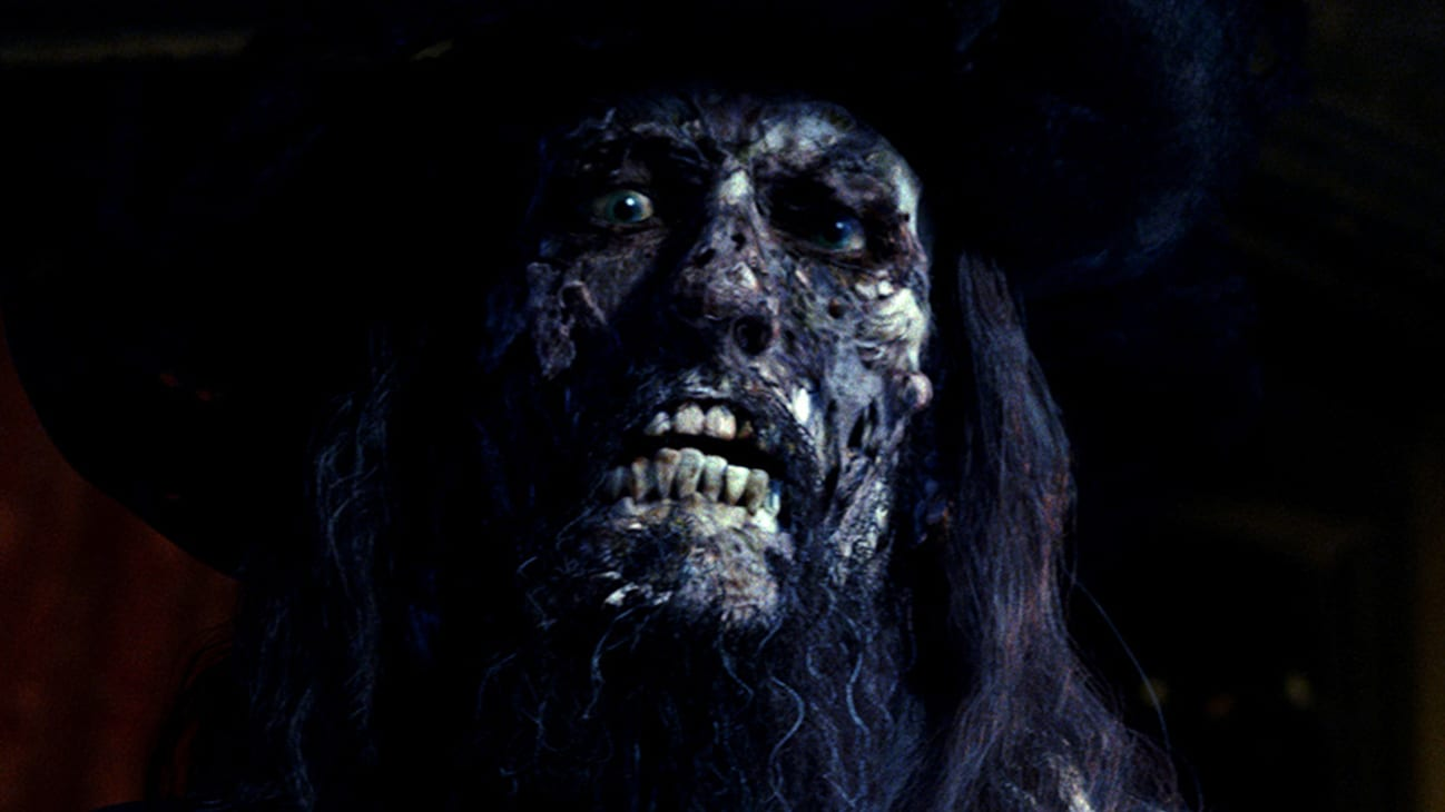 Barbossa (Geoffrey Rush) in the Disney movie Pirates of the Caribbean: The Curse of the Black Pearl.