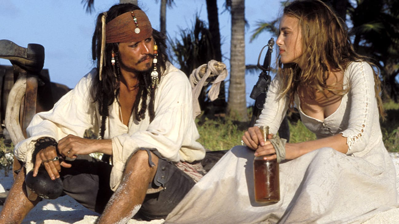 Jack Sparrow (Johnny Depp) and Keira Knightley (Elizabeth Swann) in the Disney movie Pirates of the Caribbean: The Curse of the Black Pearl.