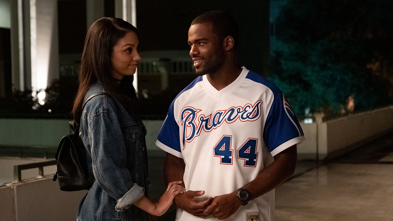 """Image of Ray (Jay Reeves) and Kaycee Stone (Corinne Foxx) from the Disney+ Original movie, """"Safety""""."""