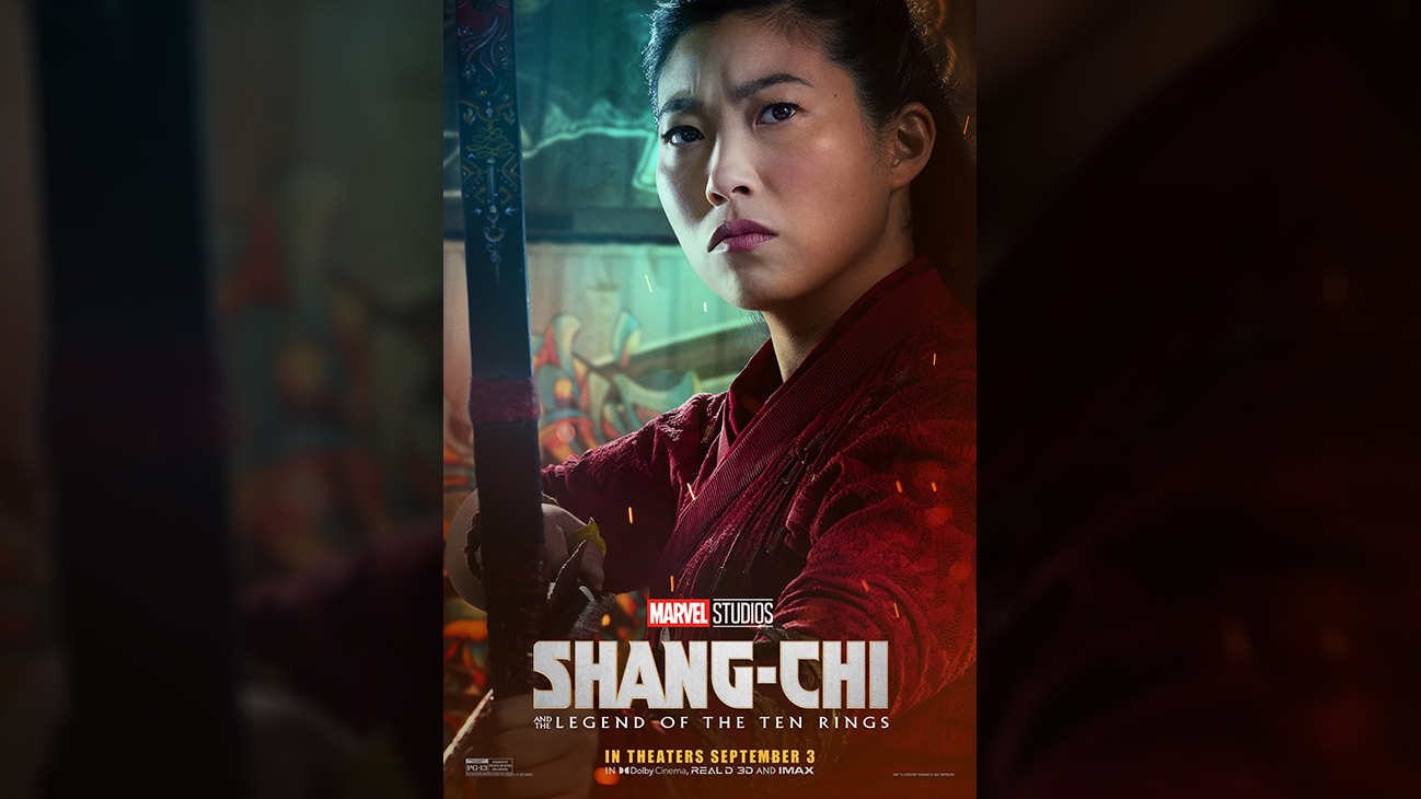 Katy (actor Awkwafina) movie poster image from Marvel Studios' Shang-Chi and the Legend of the Ten Rings. In theaters September 3. Rated PG-13.
