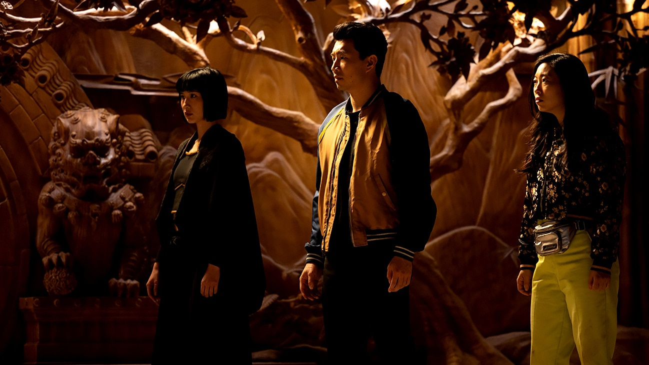 Xialing (Meng'er Zhang), Shang-Chi (Simu Liu), and Katy (Awkwafina) from Marvel Studios' Shang-Chi and The Legend of the Ten Rings.