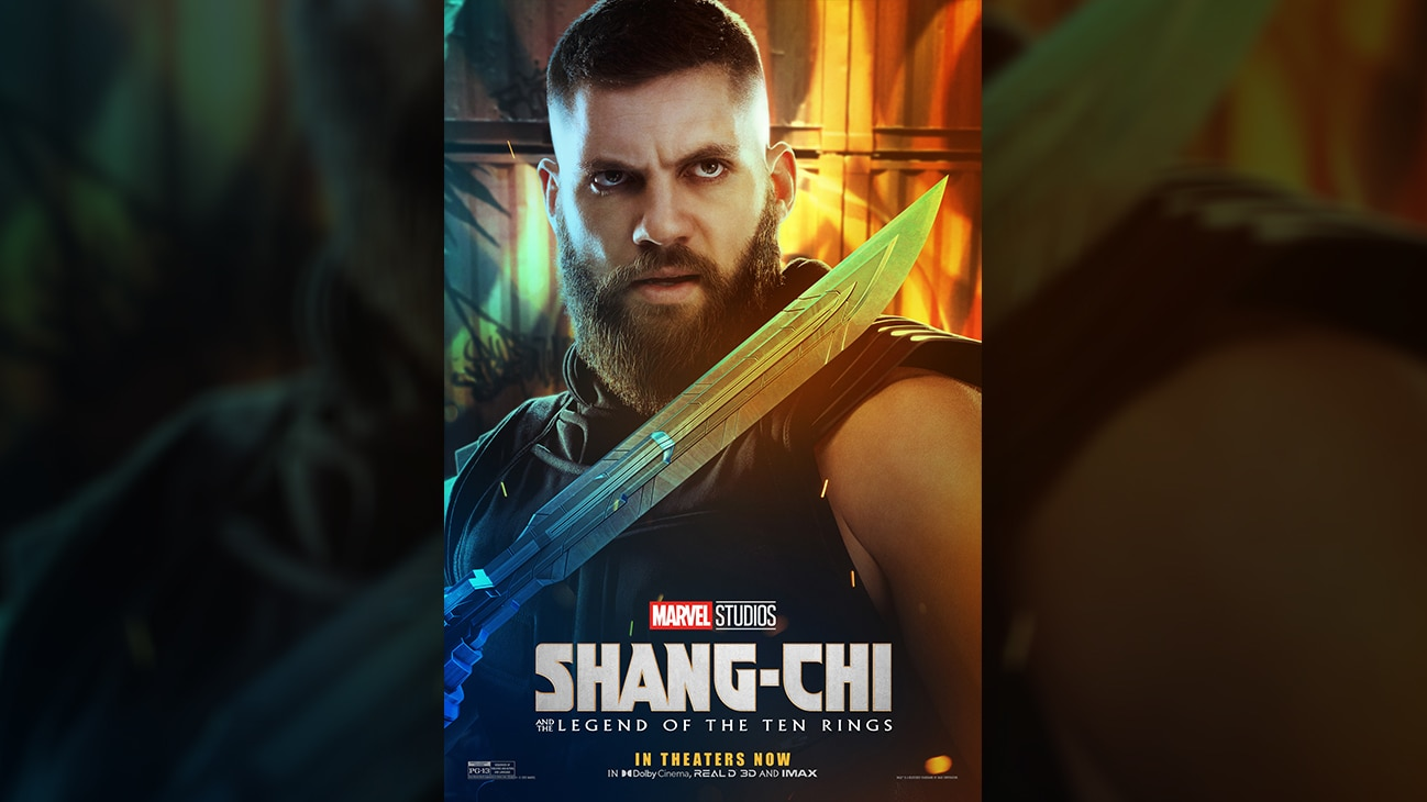 Razor Fist (actor Florian Munteanu) movie poster image from Marvel Studios' Shang-Chi and the Legend of the Ten Rings.
