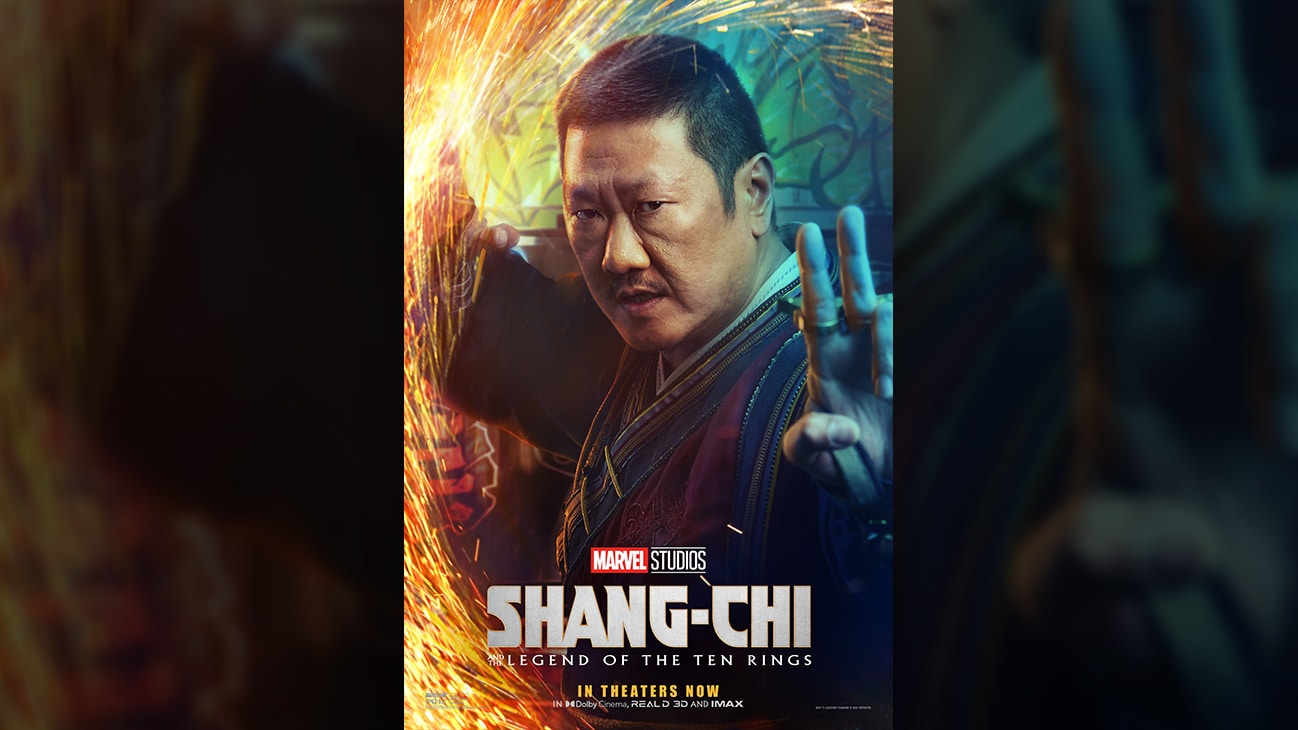 Wong (actor Benedict Wong) movie poster image from Marvel Studios' Shang-Chi and the Legend of the Ten Rings. In theaters September 3. Rated PG-13.