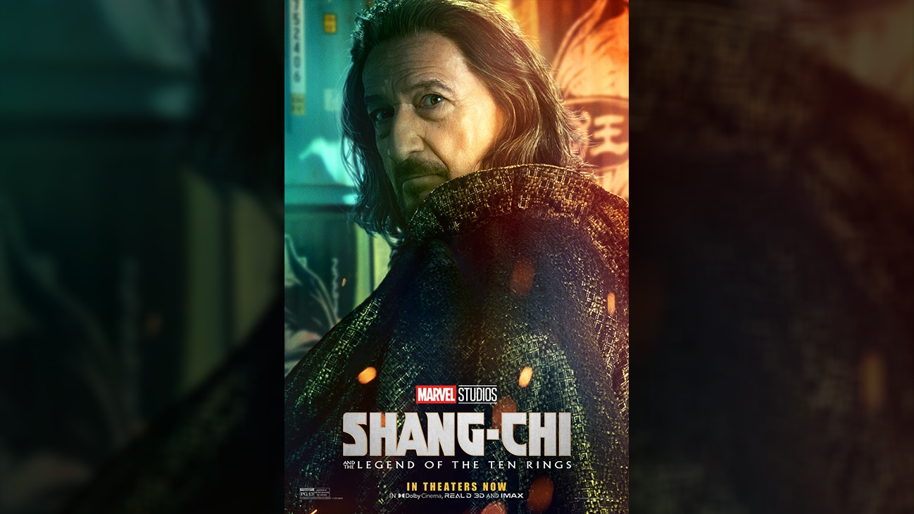Trevor (actor Ben Kingsley) movie poster image from Marvel Studios' Shang-Chi and the Legend of the Ten Rings. In theaters September 3. Rated PG-13.