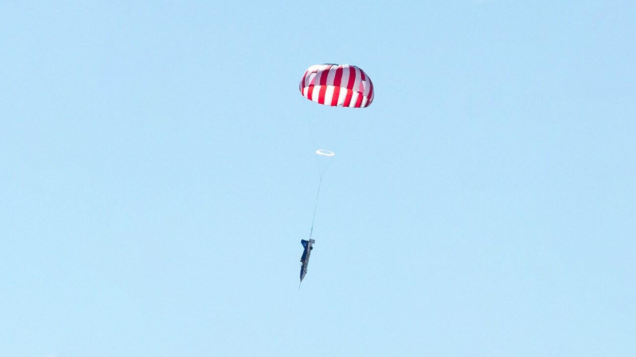 Image of a person parachuting from the Disney+ Originals movie Stuntman. (Disney/ Steve Dondero)