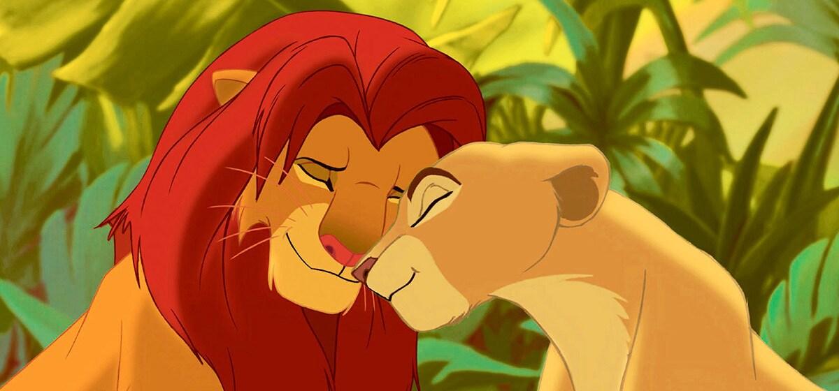 "Matthew Broderick (Simba) and Moira Kelly (Nala) in ""The Lion King"""