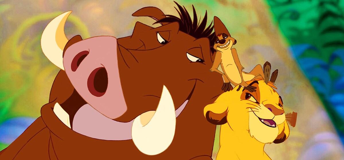 "Nathan Lane (Timon), Jonathan Taylor Thomas (young Simba), Ernie Sabella (Pumbaa) in ""The Lion King"""