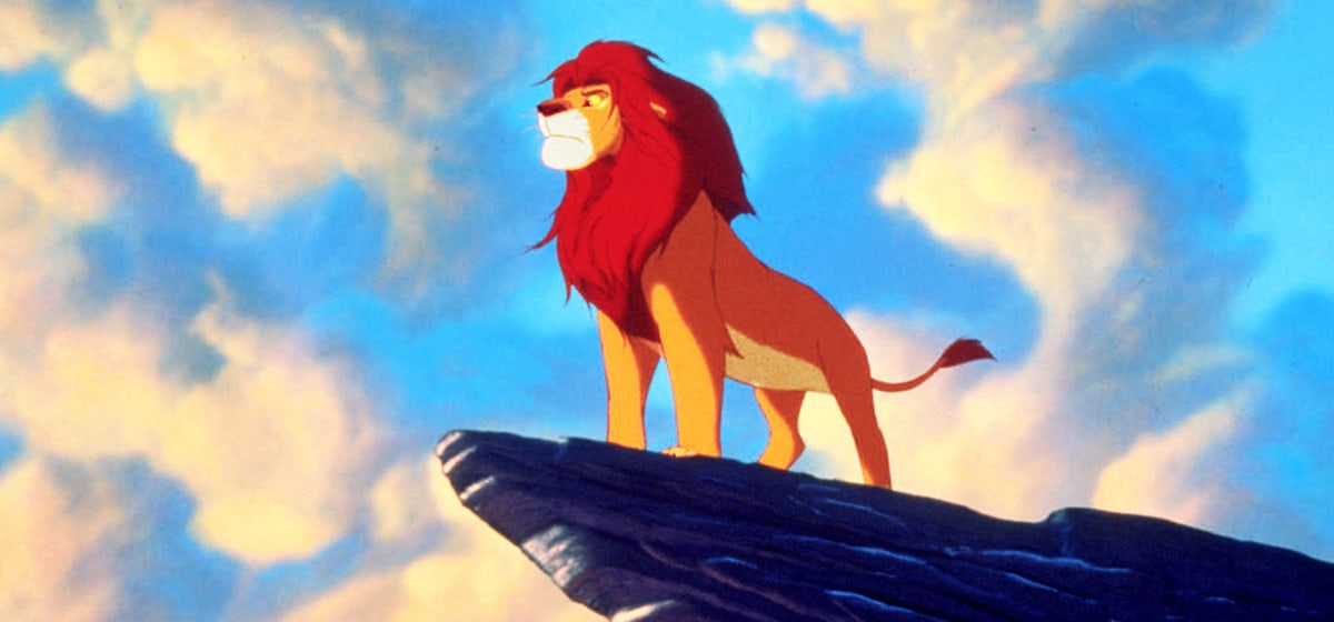 """Matthew Broderick (Simba) stands atop a rock in """"The Lion King"""""""
