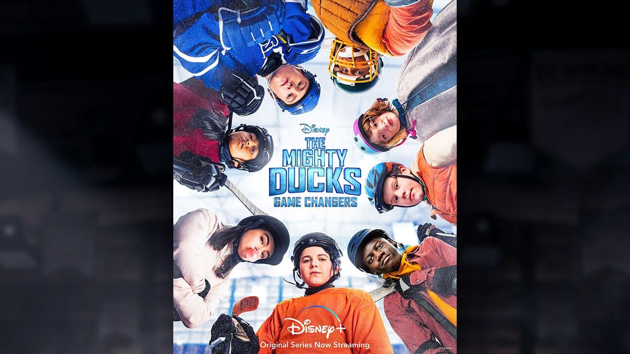 Group shot of Evan, Nick, Sam, Maya, Lauren, Koob, Logan, and Sofi from the Disney+ Original Series The Mighty Ducks: Game Changers.