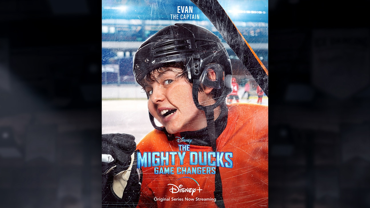 Evan | The Captain | Image of Evan's face pressed against the hockey rink glass, from the Disney+ Original Series The Mighty Ducks: Game Changers.
