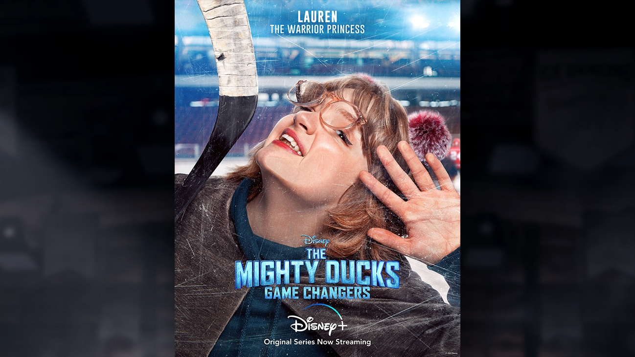 Lauren | The Warrior Princess | Image of Lauren's face pressed against the hockey rink glass, from the Disney+ Original Series The Mighty Ducks: Game Changers.