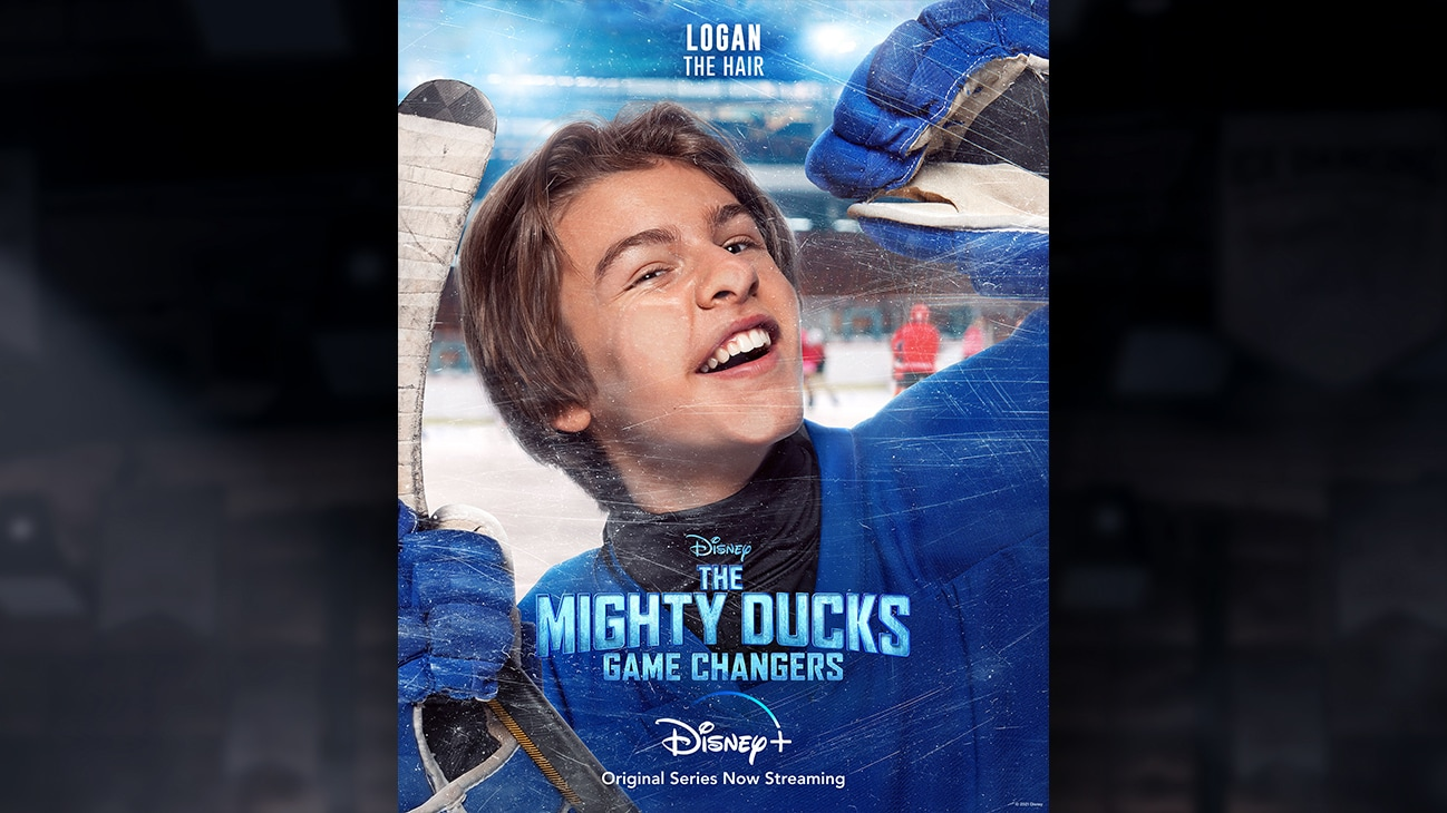 Logan | The Hair | Image of Logan's face pressed against the hockey rink glass, from the Disney+ Original Series The Mighty Ducks: Game Changers.