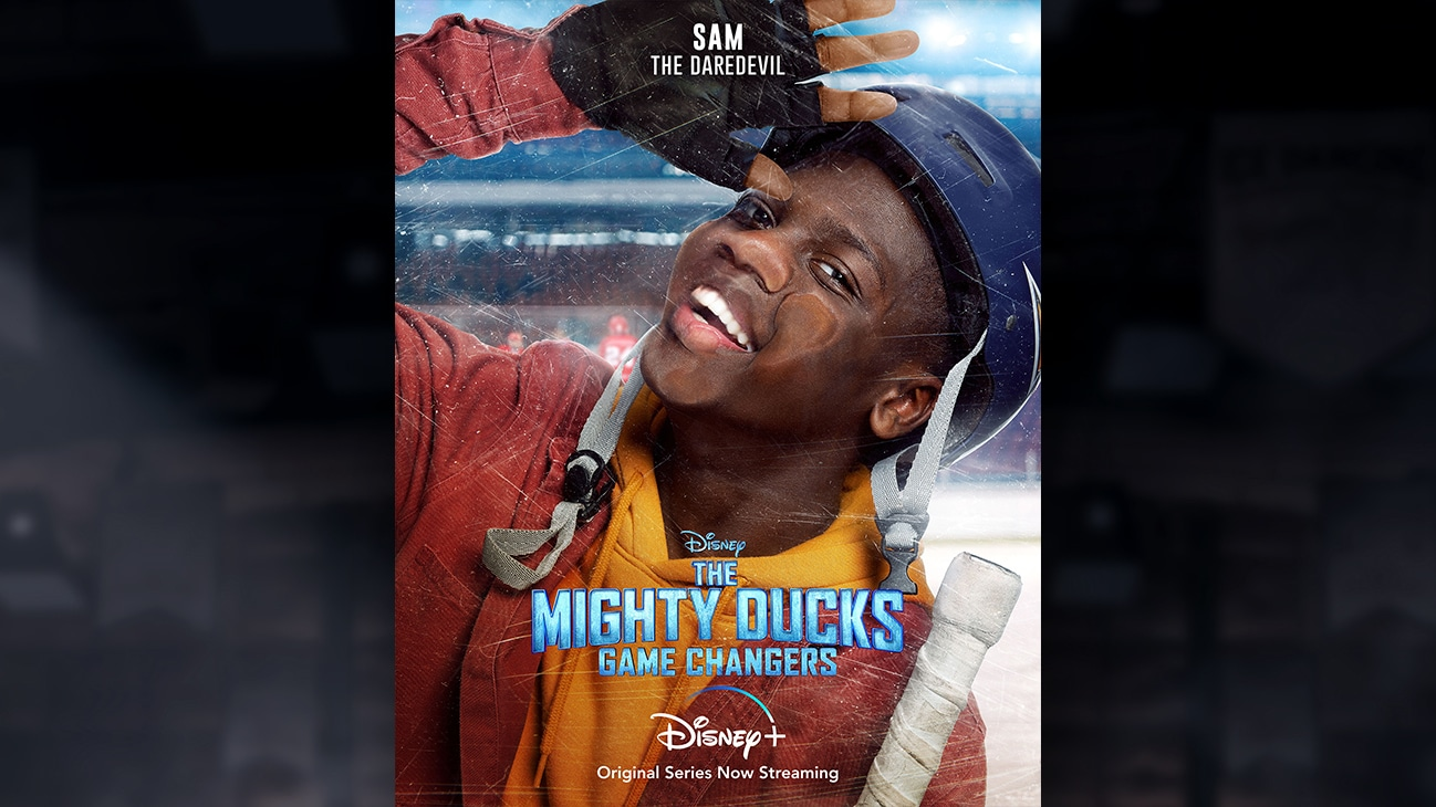 Sam | The Daredevil | Image of Sam's face pressed against the hockey rink glass, from the Disney+ Original Series The Mighty Ducks: Game Changers.