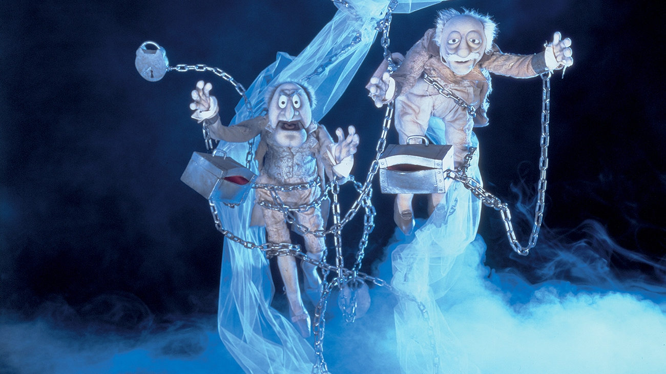 Waldorf as Robert Marley (voice of Dave Goelz) and Statler as Jacob Marley (voice of Jerry Nelson) in the Disney movie The Muppet Christmas Carol.